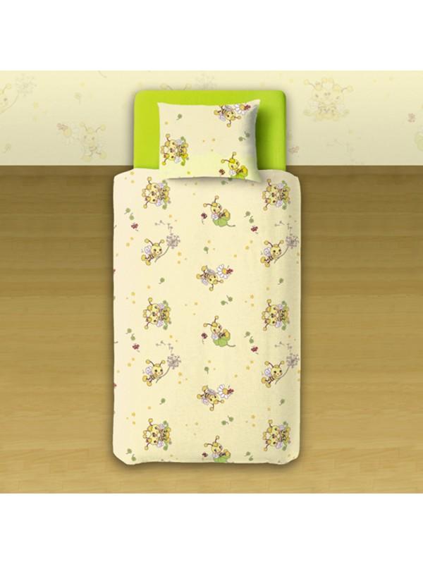 Бебешки спален комплект в жълто и бяло - веселите пчелички