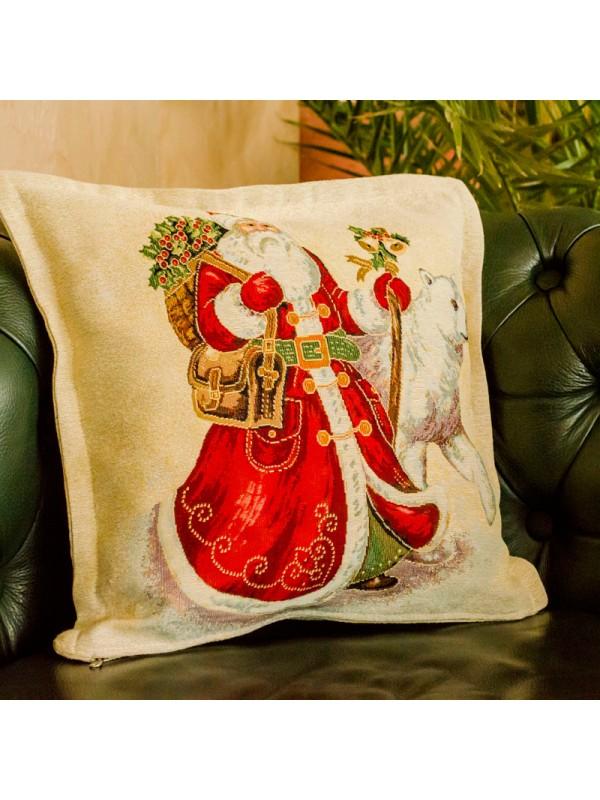Коледна Калъфка за възглавница - Дядо Коледа и полярна мечка