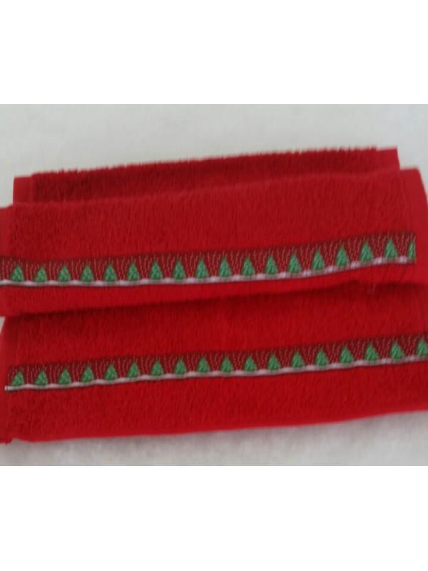 Червена хавлиена кърпа с Коледни Мотиви