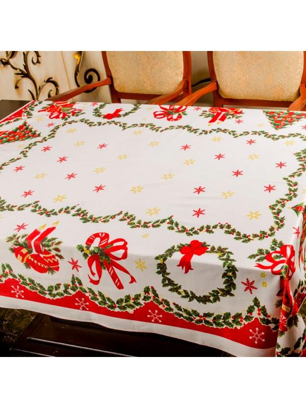 Правоъгълна Покривка Коледна Свещи и Венци
