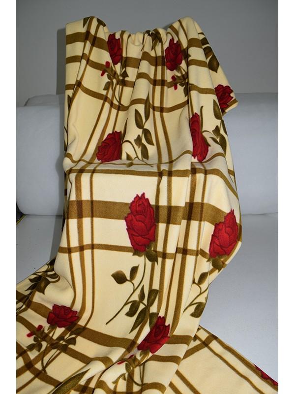 Поларено одеяло Роза Бежово