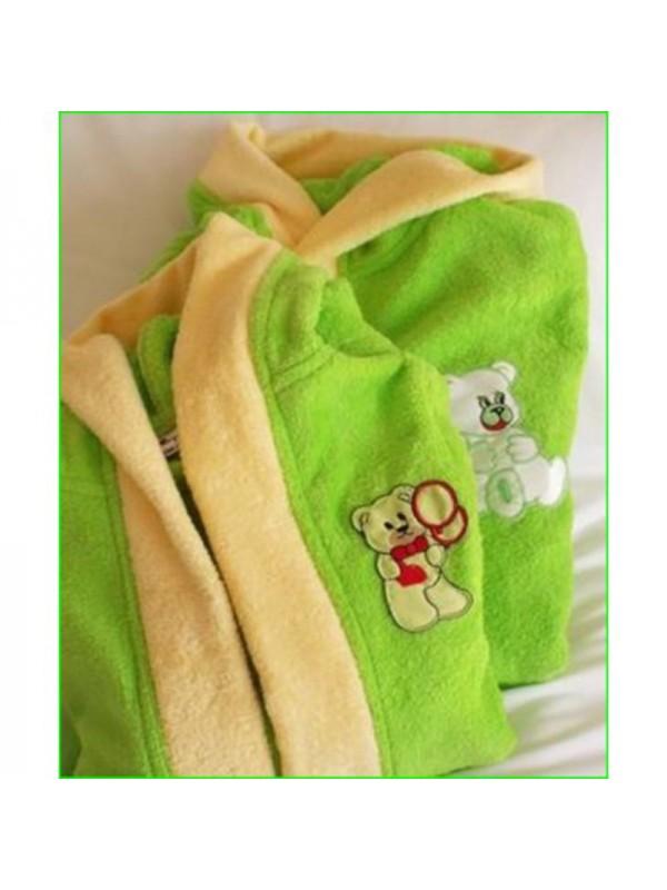 Детски халат в зелено