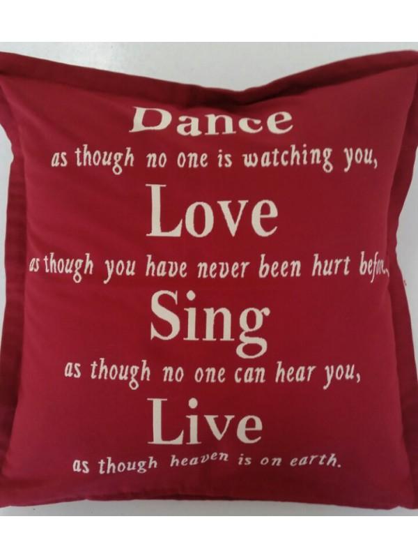 Жакардова Декоративна калъфка - Dance, Love, Sing, Live