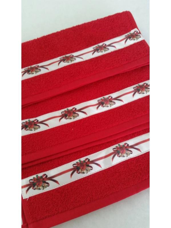 Червена хавлиена кърпа с Коледни Мотиви 2