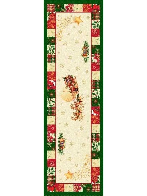 Коледен Тишлайфер за маса - Дядо Коледа шейна със зелен кант