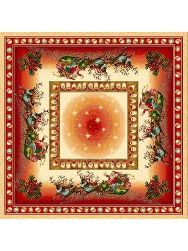 Коледно Каре за Маса - Дядо Коледа с шейна Червен кант