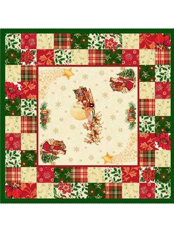 Коледно Каре за Маса - Дядо Коледа с шейна Зелен кант