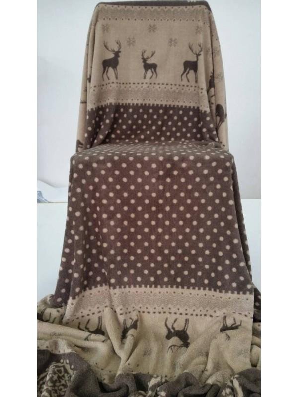 Поларено одеяло Елени в Кафяво