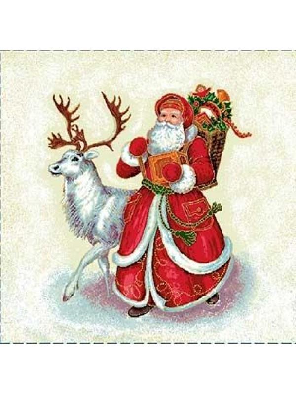 Коледна калъфка за възглавница - Дядо Коледа с елен