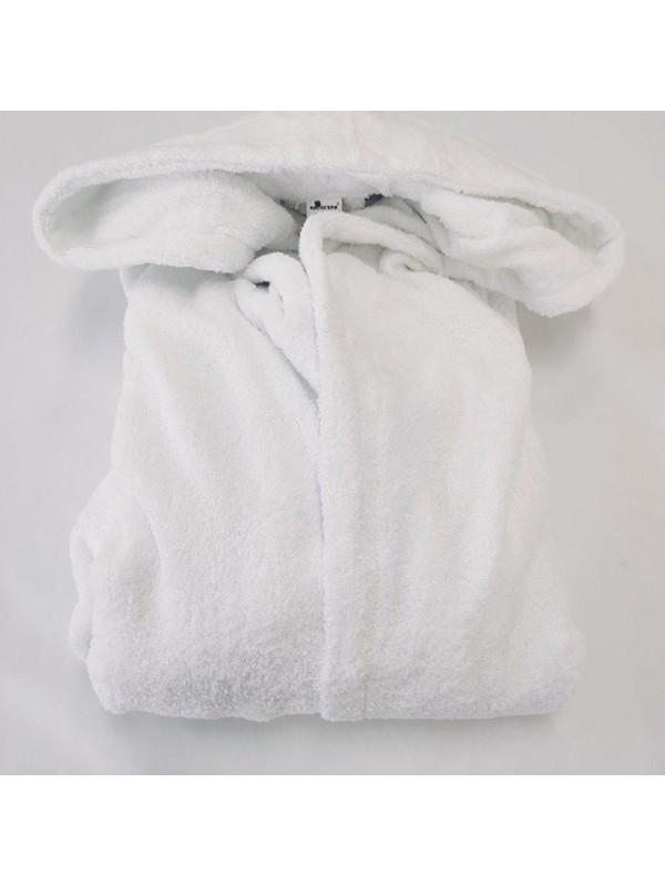 Бял халат за баня с качулка
