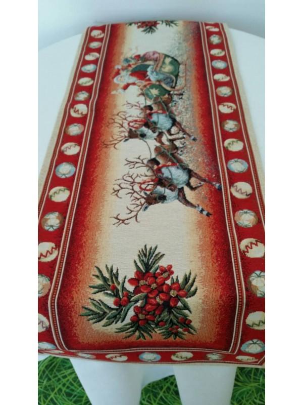 Коледен Тишлайфер за маса - Дядо Коледа с шейна червен кант