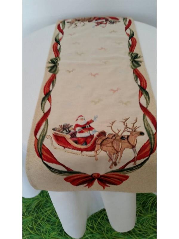 Коледен Тишлайфер за маса - Дядо Коледа с шейна и панделки